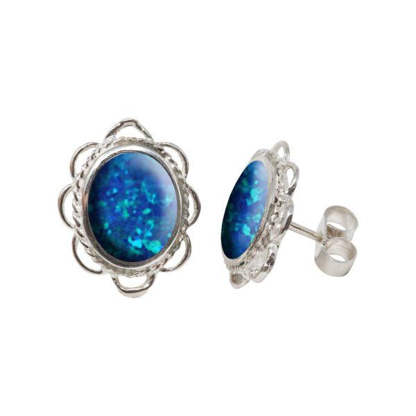 White Gold Opalite Cobalt Blue Oval Stud Earrings