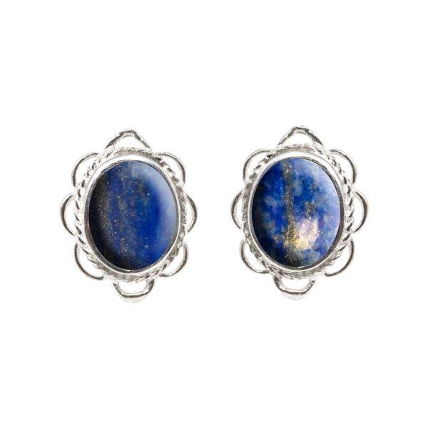 White Gold Lapis Oval Stud Earrings