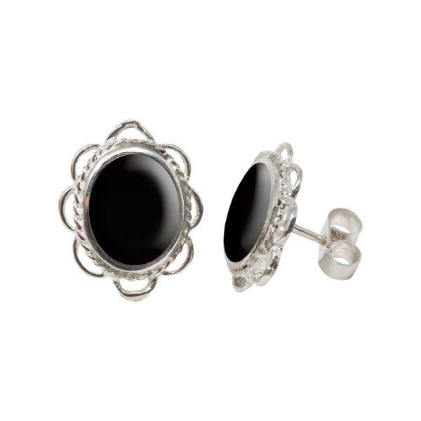 White Gold Whitby Jet Oval Stud Earrings