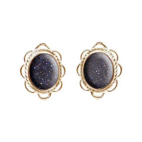 Gold Blue Goldstone Oval Frill Edge Stud Earrings