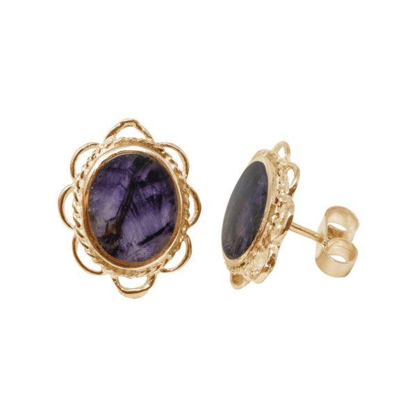 Gold Blue John Oval Frill Edge Stud Earrings
