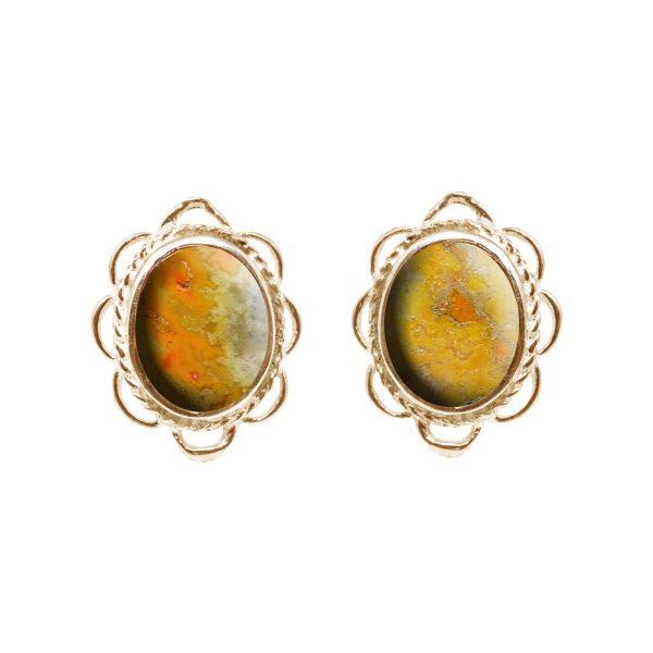 Gold Bumblebee Jasper Oval Frill Edge Stud Earrings