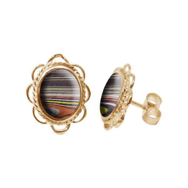 Gold Fordite Oval Frill Edge Stud Earrings