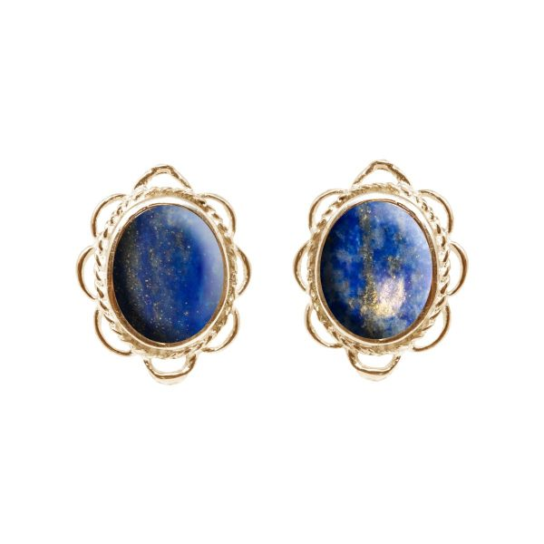 Gold Lapis Oval Frill Edge Stud Earrings
