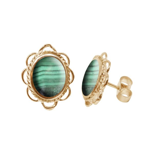 Gold Malachite Oval Frill Edge Stud Earrings