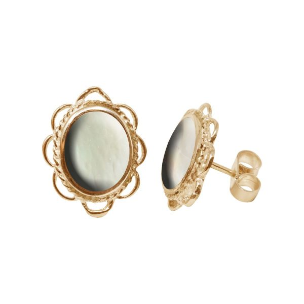 Gold Mother of Pearl Oval Frill Edge Stud Earrings