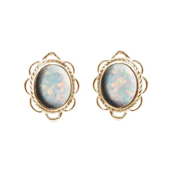 Gold Opalite Sun Ice Oval Frill Edge Stud Earrings