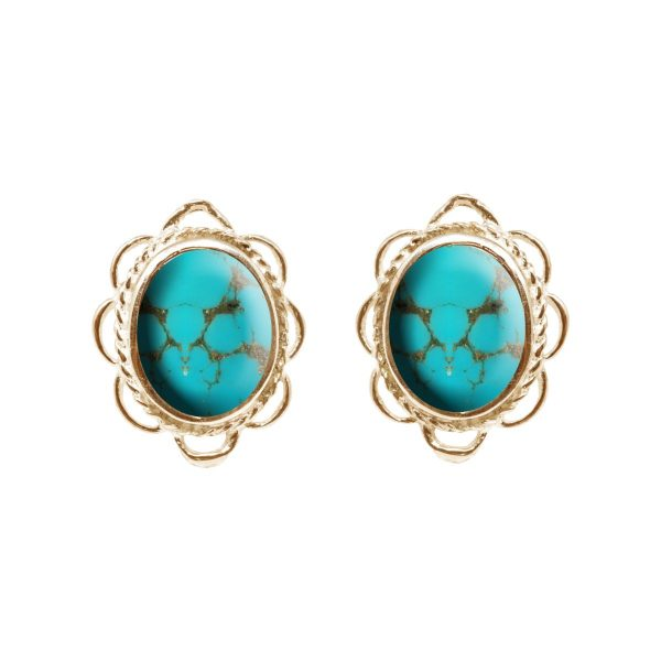 Gold Turquoise Oval Frill Edge Stud Earrings