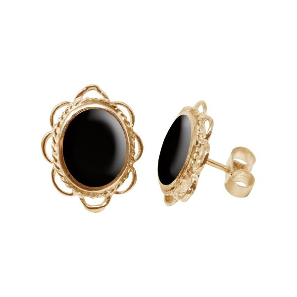 Gold Whitby Jet Oval Frill Edge Stud Earrings