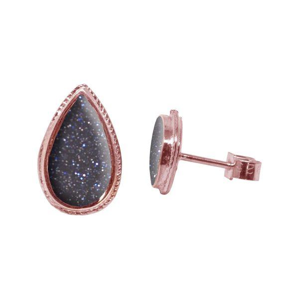 Rose Gold Blue Goldstone Stud Earrings
