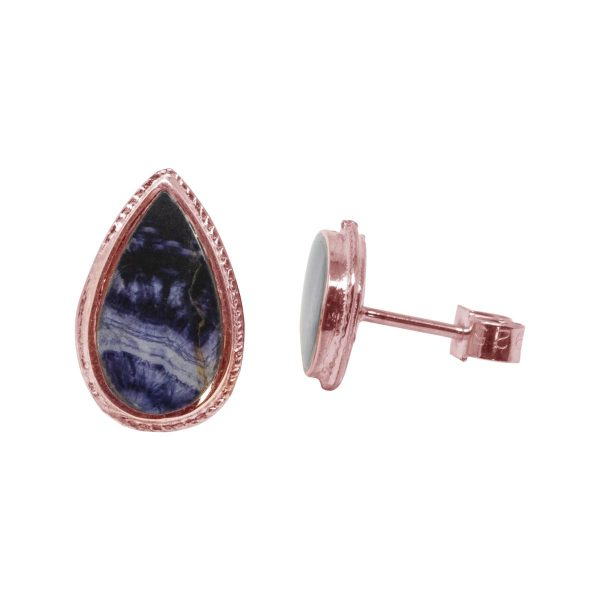 Rose Gold Blue John Stud Earrings