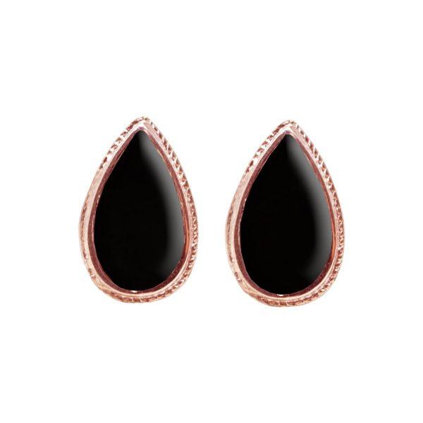 Rose Gold Whitby Jet Stud Earrings