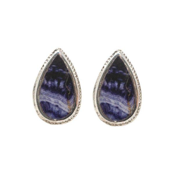 Silver Teardrop Shaped Blue John Stud Earrings