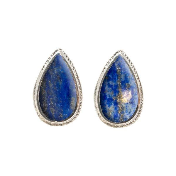 Silver Lapis Stud Earrings