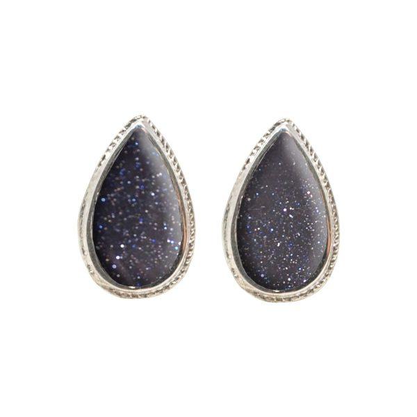White Gold Blue Goldstone Stud Earrings