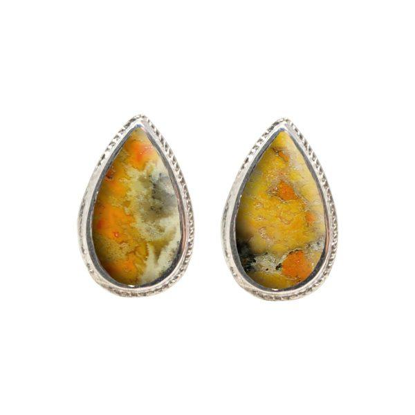 White Gold Bumblebee Jasper Stud Earrings