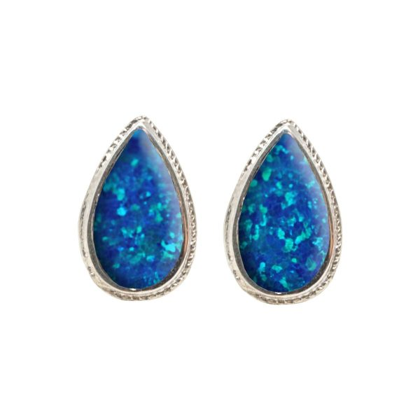 White Gold Opalite Cobalt Blue Stud Earrings