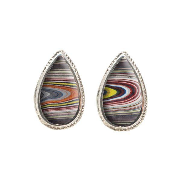 White Gold Fordite Stud Earrings