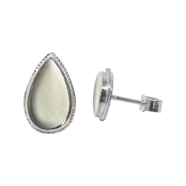 White Gold Mother of Pearl Stud Earrings