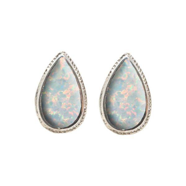 White Gold Opalite Sun Ice Stud Earrings