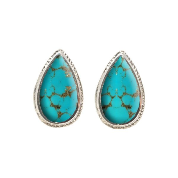 White Gold Turquoise Stud Earrings