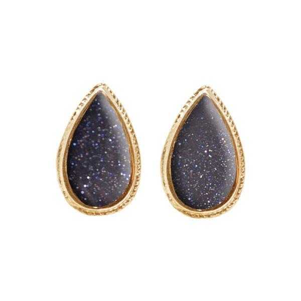 Yellow Gold Blue Goldstone Stud Earrings