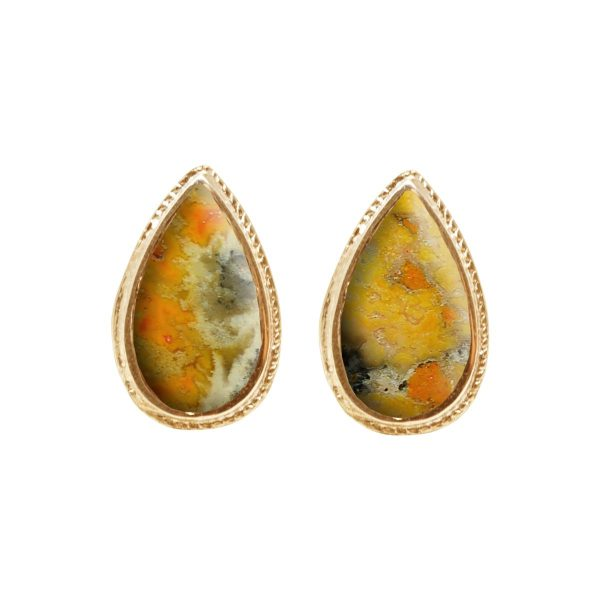 Gold Bumblebee Jasper Stud Earrings