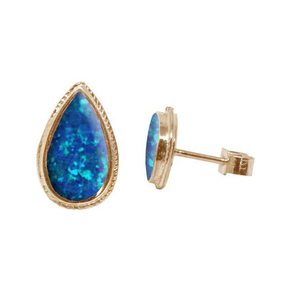 Gold Opalite Cobalt Blue Stud Earrings