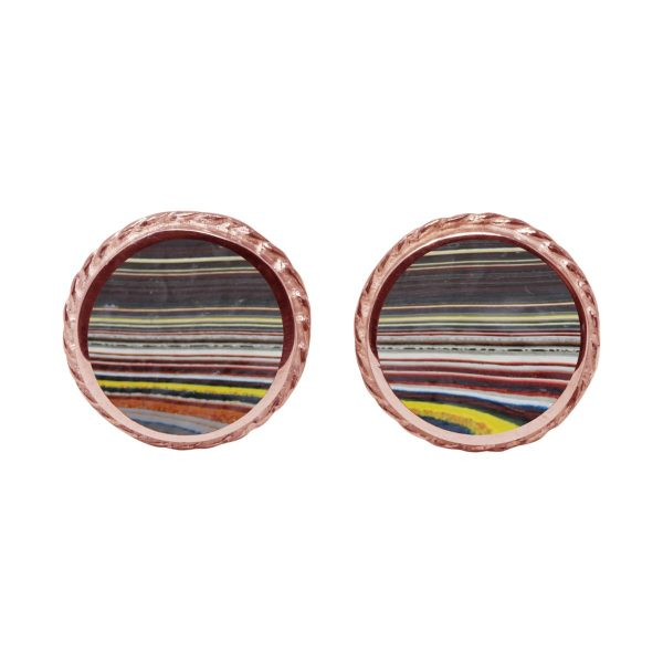 Rose Gold Fordite Round Stud Earrings