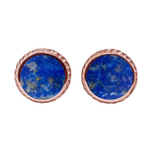 Rose Gold Lapis Round Stud Earrings