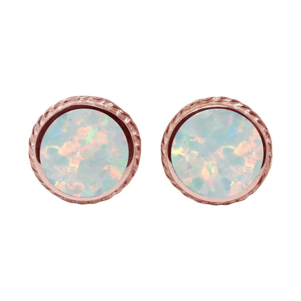 Rose Gold Opalite Sun Ice Round Stud Earrings