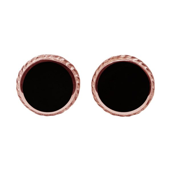 Rose Gold Whitby Jet Round Stud Earrings