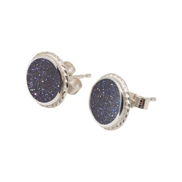 Silver Blue Goldstone Round Stud Earrings