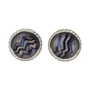 Silver Round Blue John Stud Earrings Rope Edge