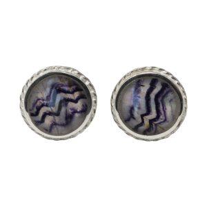 Silver Round Blue John Stud Earrings Rope Edge