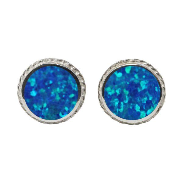 Silver Opalite Cobalt Blue Round Stud Earrings
