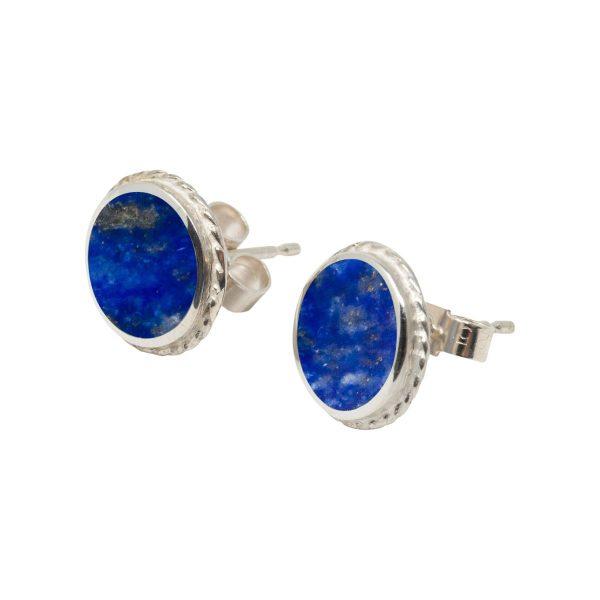 Silver Lapis Round Stud Earrings