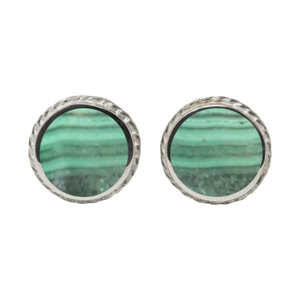 Silver Malachite Round Stud Earrings