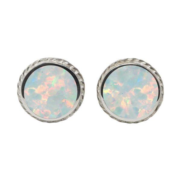 Silver Opalite Sun Ice Round Stud Earrings
