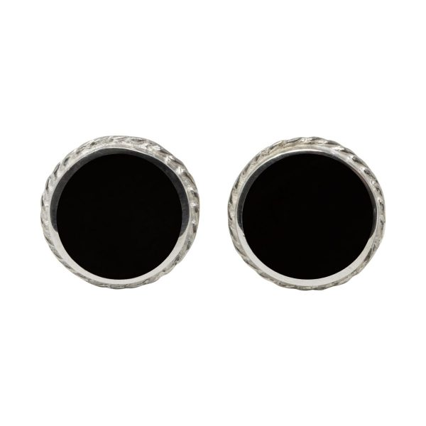 Silver Whitby Jet Round Stud Earrings