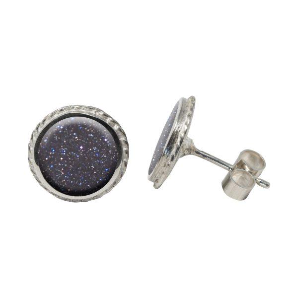 White Gold Blue Goldstone Round Stud Earrings