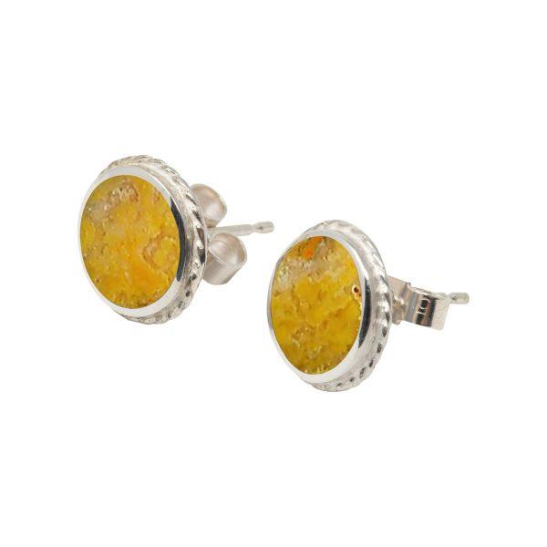 White Gold Bumblebee Jasper Round Stud Earrings