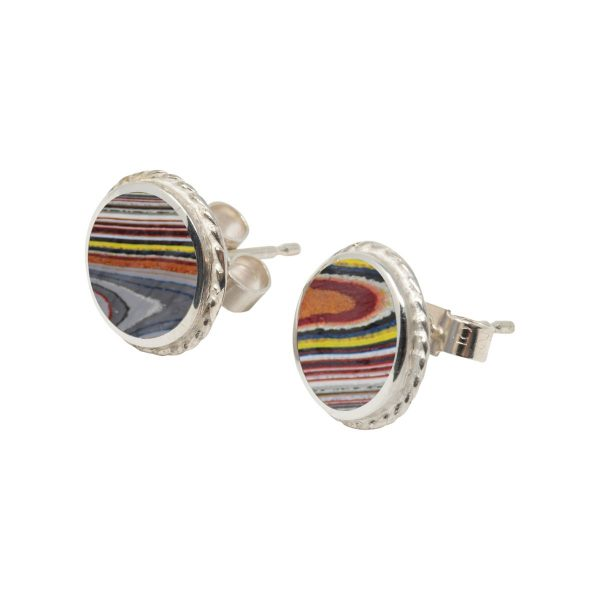 White Gold Fordite Round Stud Earrings