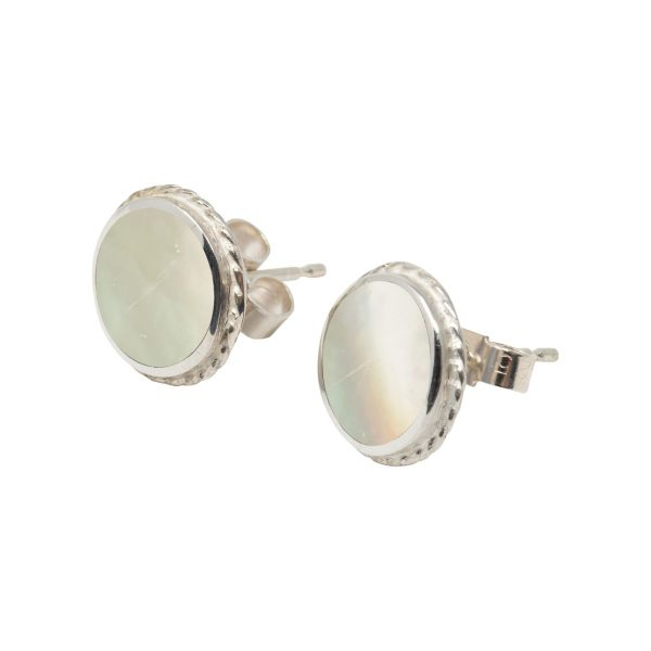 White Gold Mother of Pearl Round Stud Earrings