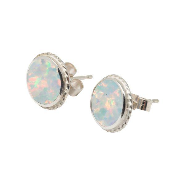 White Gold Opalite Sun Ice Round Stud Earrings