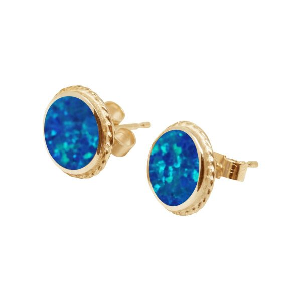Yellow Gold Opalite Cobalt Blue Round Stud Earrings