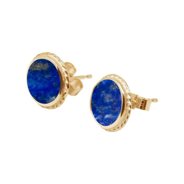 Yellow Gold Lapis Round Stud Earrings