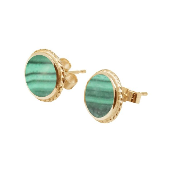 Yellow Gold Malachite Round Stud Earrings