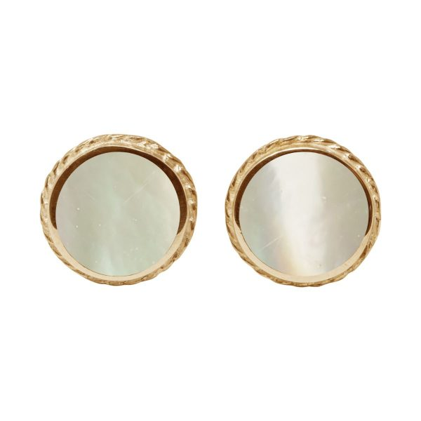 Yellow Gold Mother of Pearl Round Stud Earrings