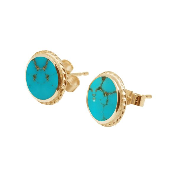 Yellow Gold Turquoise Round Stud Earrings